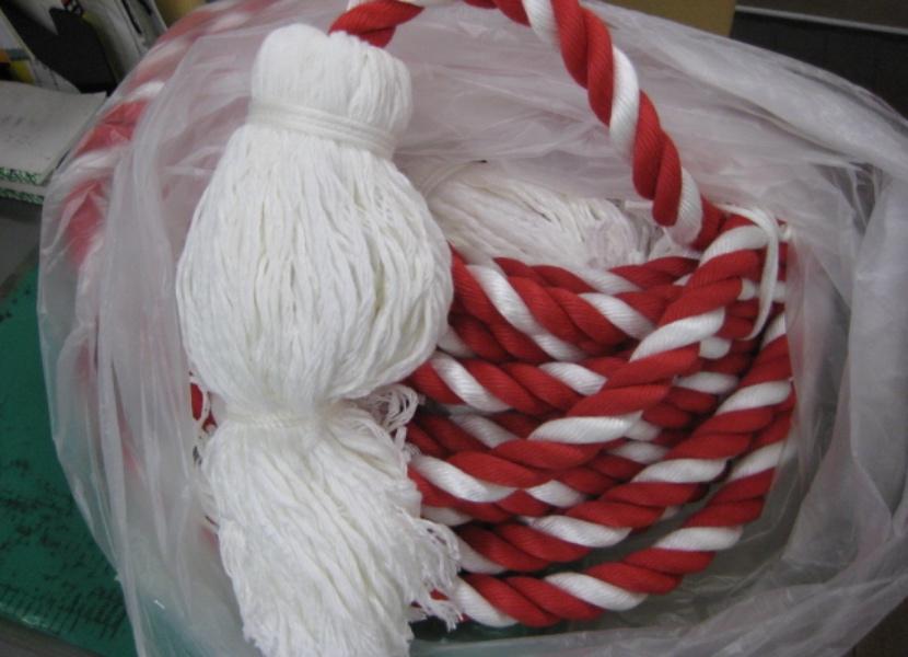 お祭りで使用する紅白ロープ